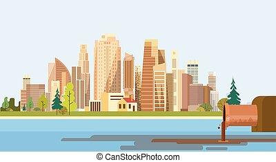 miasto, roślina, rura, natura, zanieczyszczony, woda, brudny, tracić, środowisko, skażenie