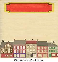 miasto, rocznik wina, struktura, papier, ilustracja, tło, wyblakły