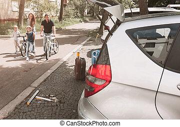 miasto, rower, rodzina, ulica., jazda