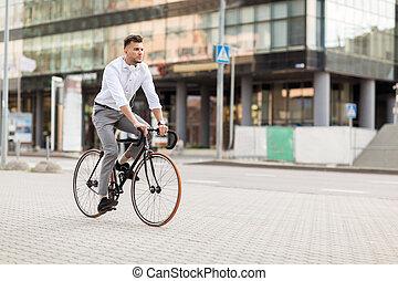 miasto, rower, słuchawki, ulica, jeżdżenie, człowiek