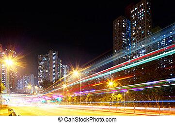 miasto, ruchomy, mocny, wóz lekki