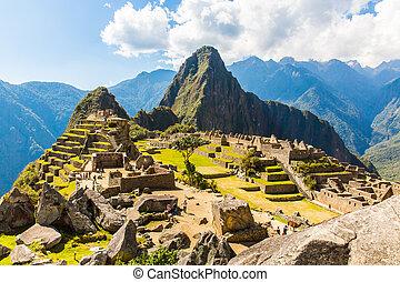 miasto, ruins., machu, peru, -, przykład, polygonal, picchu,...