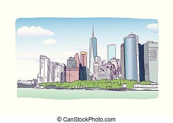 miasto, rys, barwny, ilustracja, akwarela, york, nowy