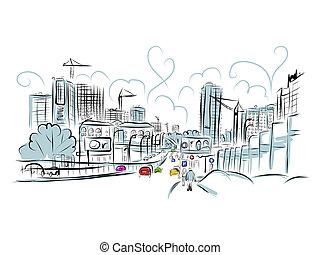miasto, rys, handel, projektować, twój, droga
