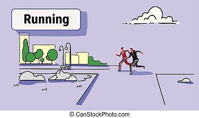 miasto, rys, pojęcie, styl życia, kobieta, zdrowy, doodle, para, park, jogging, lekkoatletyka, na wolnym powietrzu, wyścigi, pełny, biegacze, tło, cityscape, długość, poziomy, miejski, człowiek