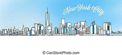 miasto, rys, sylwetka na tle nieba, nowy york