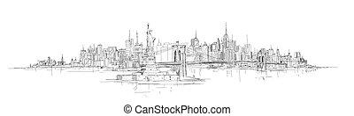 miasto, rys, sylwetka, ręka, panoramiczny, wektor, york,...