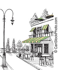 miasto, rys, ulica, restauracja, taras, wektor, retro, ...