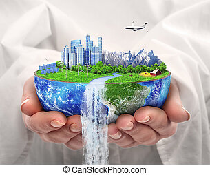 miasto, słoneczny, eco, concept., planet., energy., day., future., ziemia, oprócz, energia, wiatr, miasto