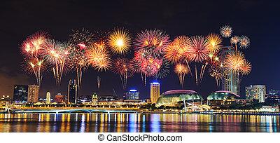 miasto, singapore, na, fajerwerk, noc, cityscape