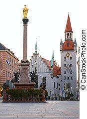 miasto, skwer, średniowieczny, munich., niemcy, monument.