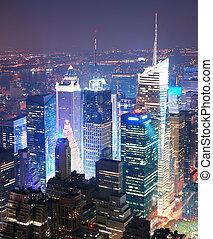 miasto, skwer, antena, czasy, sylwetka na tle nieba, york, nowy, manhattan, prospekt