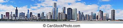 miasto skyline, chicago, miejski, panorama