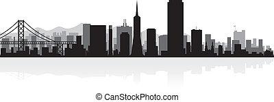 miasto skyline, francisco, sylwetka, san
