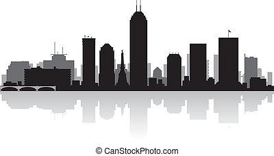 miasto skyline, indianapolis, sylwetka