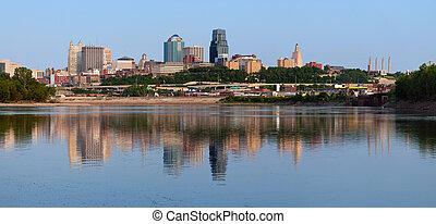 miasto skyline, kansas, panorama.