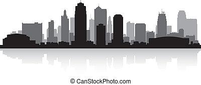 miasto skyline, kansas, sylwetka