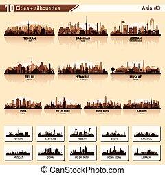 miasto skyline, komplet, 10, wektor, sylwetka, od, azja, #3