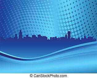 miasto skyline, na, przedimek określony przed rzeczownikami, błękitny, backround