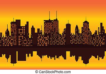 miasto skyline, na, zachód słońca, albo, wschód słońca