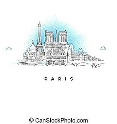 miasto skyline, paryż, francja