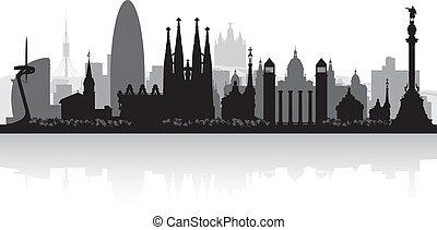 miasto skyline, sylwetka, barcelona, hiszpania