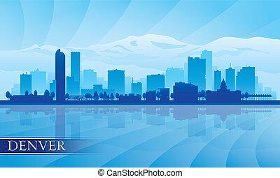 miasto skyline, sylwetka, denver, tło