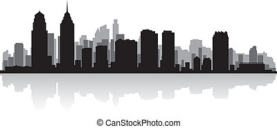 miasto skyline, sylwetka, filadelfia