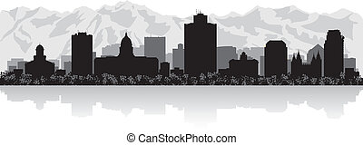 miasto skyline, sylwetka, sól jezioro