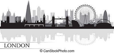 miasto skyline, sylwetka, tło, londyn