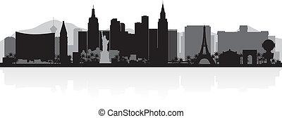 miasto skyline, vegas, sylwetka, las