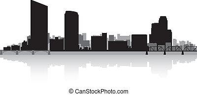 miasto skyline, wielki, sylwetka, spływa
