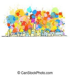 miasto skyline, york, barwny, nowy
