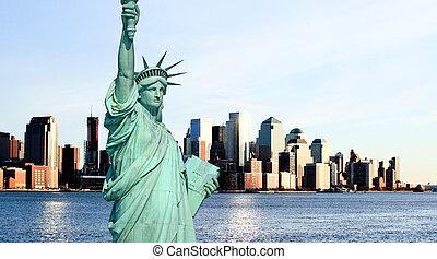 miasto skyline, york, nowy, midtown