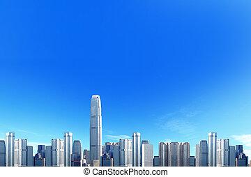 miasto skyline, z, błękitne niebo