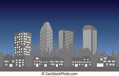 miasto skyline, z, domy