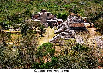 miasto, starożytny, antena, meksyk, mexico., mayan, coba, prospekt