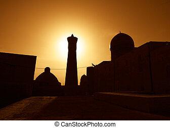 miasto, starożytny, na, uzbekistan, zachód słońca, bukhara