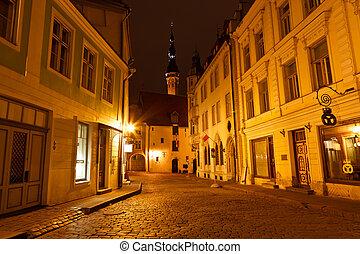 miasto, stary, estonia, tallinn, ulica, noc