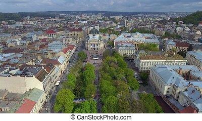 miasto, stary, lviv, lviv, ukraine., główny, antena, city., ...