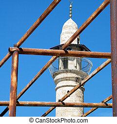 miasto, stary, rusztowanie, jaffa, meczet, al-siksik, minaret