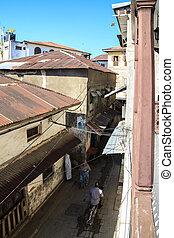 miasto, stary, ulica, brudny, afrykanin, wąski, prospekt