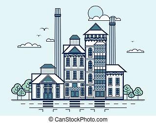 miasto, styl, browar, nowoczesny, ulica, architektura, kreska