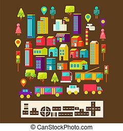 miasto, styl, komplet, infographics, płaski