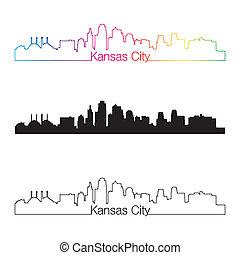 miasto, styl, linearny, tęcza, kansas, sylwetka na tle nieba