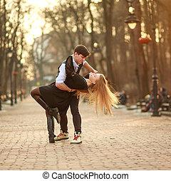 miasto, styl, miłość, klasyk, passionately, para taniec, park, młody, elegancki