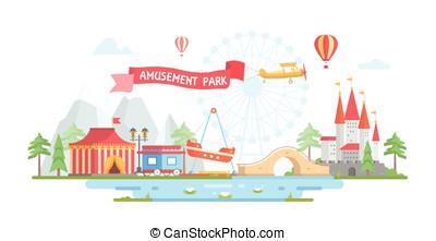 miasto, styl, płaski, -, nowoczesny, park, ilustracja, wektor, projektować, rozrywka