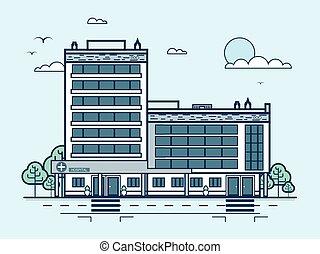 miasto, styl, szpital, nowoczesny, multistorey, rówieśnik, ulica, architektura, kreska