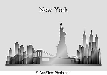 miasto, sylwetka, grayscale, sylwetka na tle nieba, york, nowy
