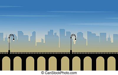 miasto, sylwetka, krajobraz, tło, most